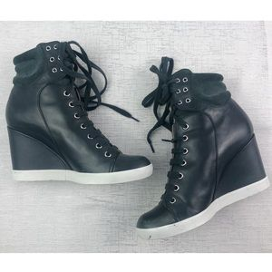 See by Chloe Wedge Lace Up Sneakers Size 39